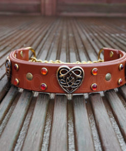 Apollo Collars The Heart Of The Celts (Tan leather, Gold Celtic Heart Conchos, Cabochons: Hyacinth and Ruby) Dog Collar