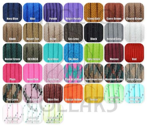 Paracord Colour Options 2015