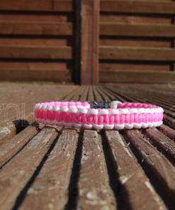 Paracord Cobra Collar (Neon pink/white)