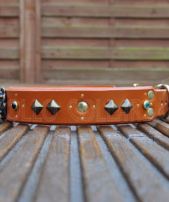 Spirit Of The Lion ( Tan leather with Emerald and Aquamarine Cabochons)