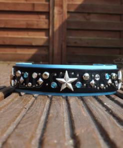 Stardust (blue leather, Turquoise and Clear Rhinestones)