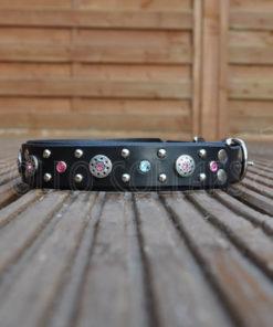 Freya leather collar with (Light pink/Aqua) Rhinestones