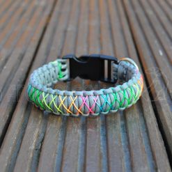 King cobra Paracord collar with Rainbow cord (Natural grey)