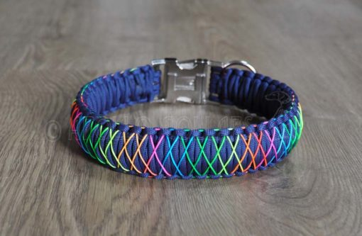 King cobra Delux Paracord collar with Rainbow cord (Navy blue)