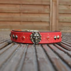 Spirit of the Lion (brown leather as the bottom layer and red as the top layer with red Cabochons)